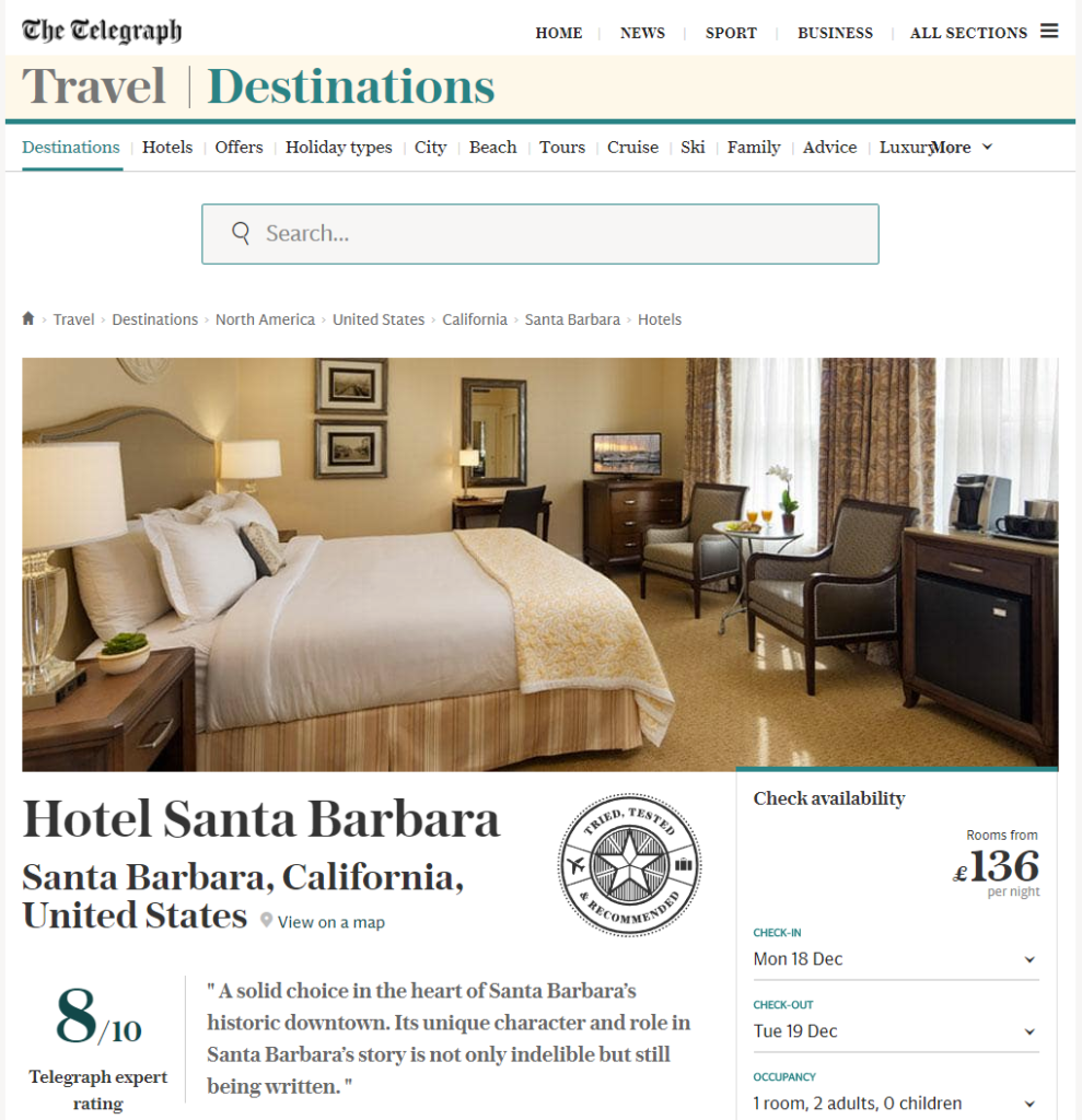 telegraph-london- hotel-santa-barbara-review