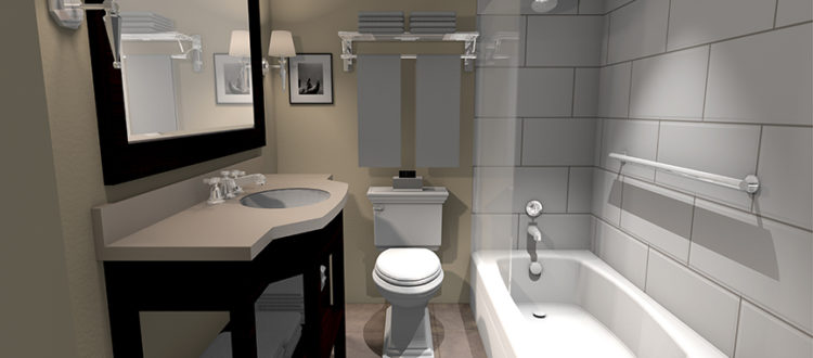 hotel bathroom digital rendering