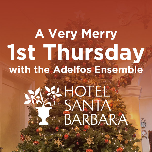 Text that says a very merry 1st Thursday with the Adelfos Ensemble