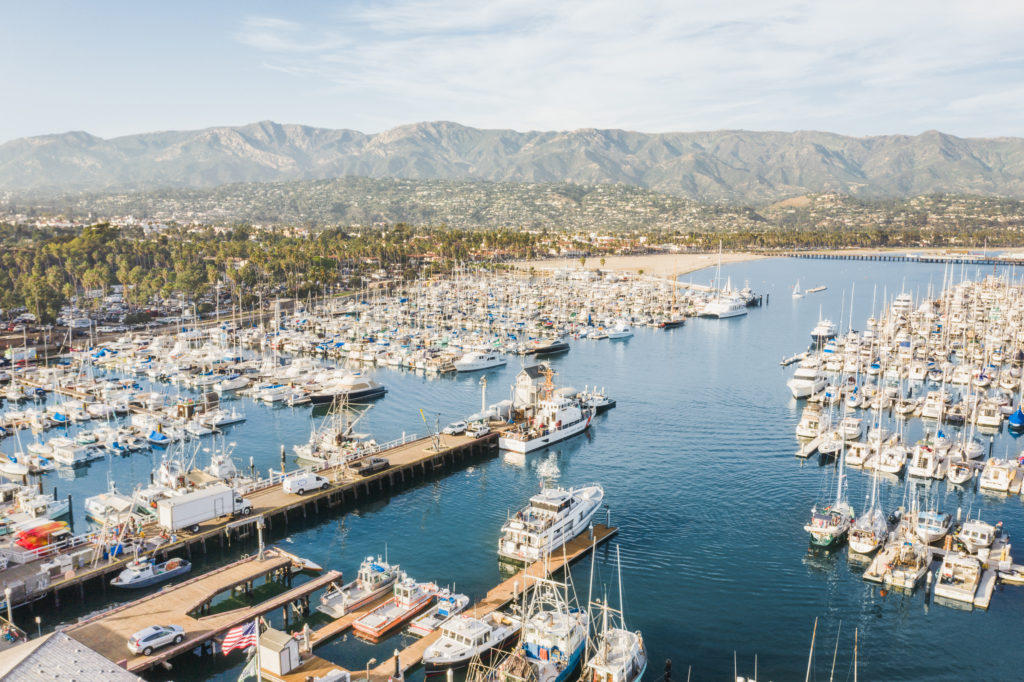 aerial view of santa barbara harbor