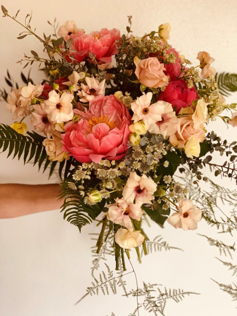 bouquet of flowers in pink and white hues
