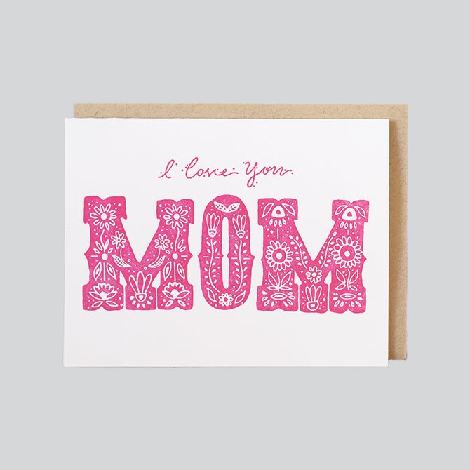 mother's day card that reads i love you mom
