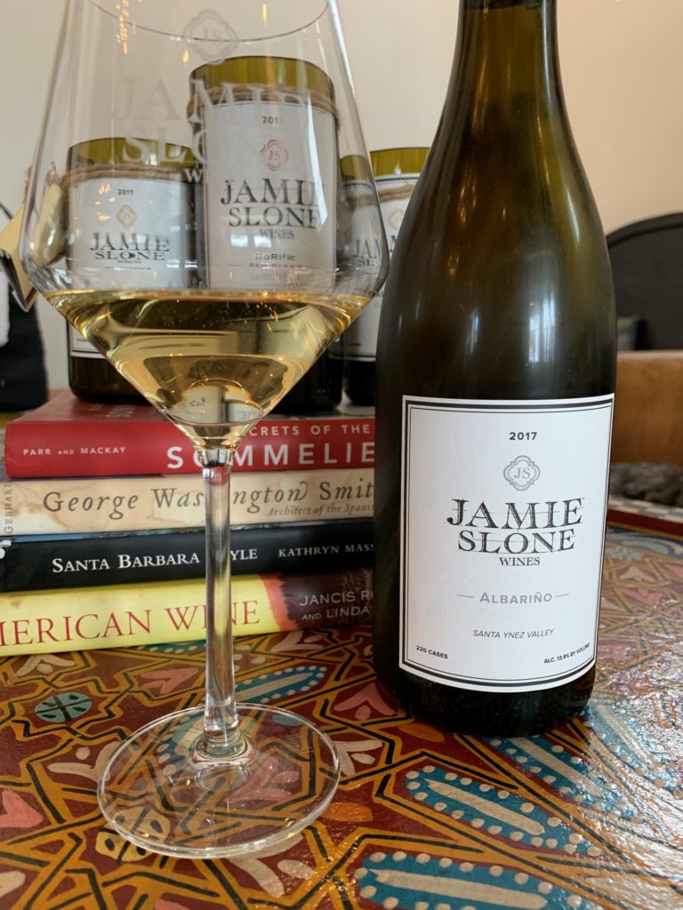 bottle and glass of santa barbara white wine