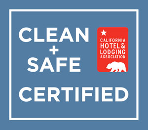 Certification Badge for the California Hotel and Lodging Association Clean + Safe Certification Program