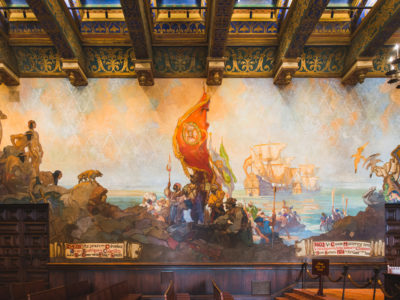 mural room in the SB County Courthouse depicting arrival of Spanish conquerors on sailboat