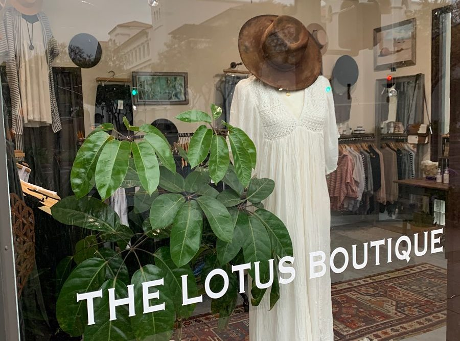 view from outside of Lotus Boutique looking through window with store title at display of mannequin wearing a long white dress and hat and a plant