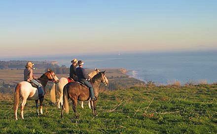 3 people horseback riding in the Santa Barbara mountains with ocean views