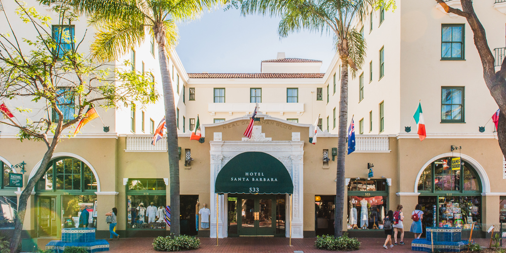 historic hotel on State Street in Santa Barbara